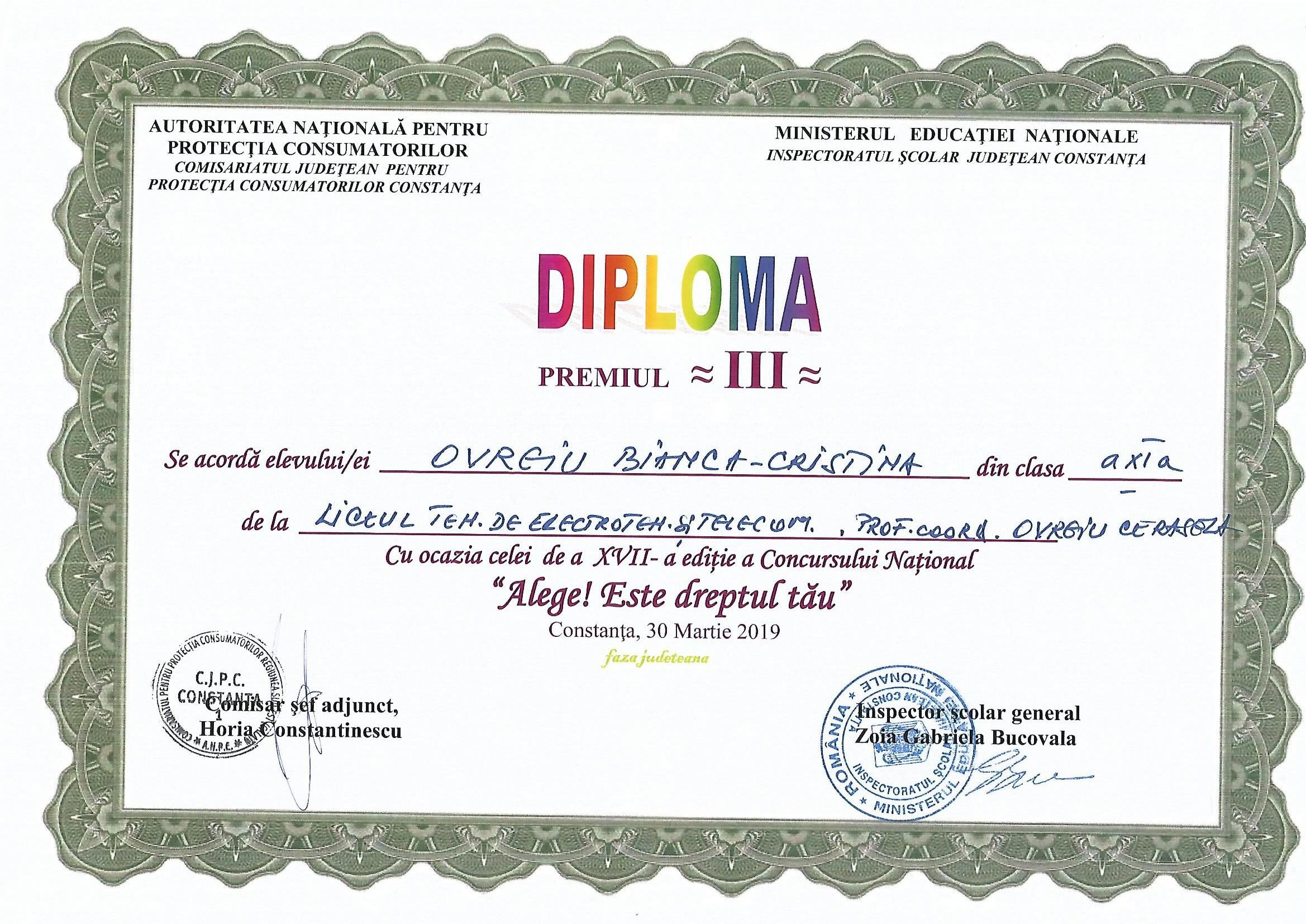 diploma concurs protectia consumatorului 2018-2019