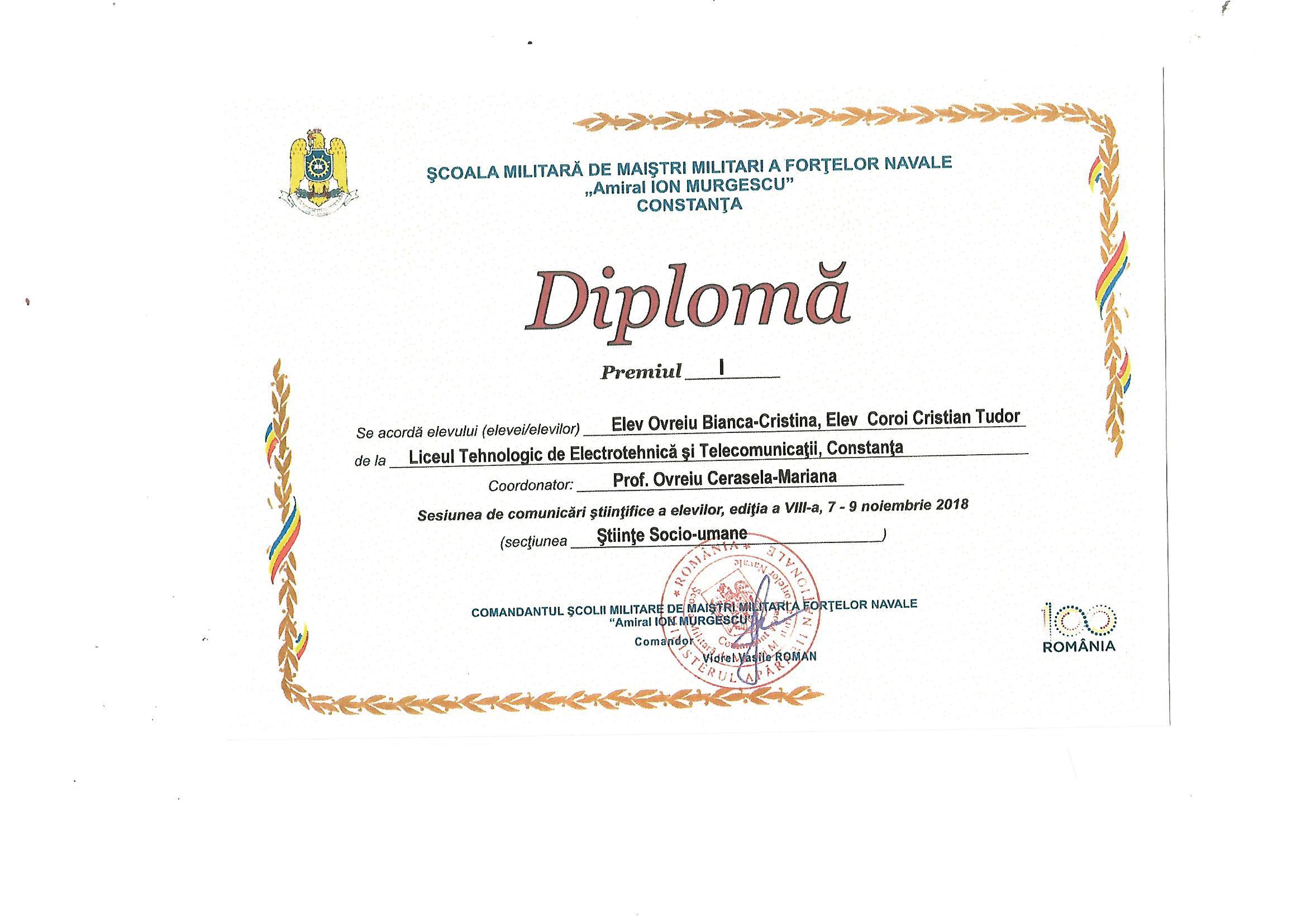 diploma sesiune de comunicari 2018-2019